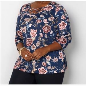 Avenue 💼 Caged neck floral top 14-16 (1X)